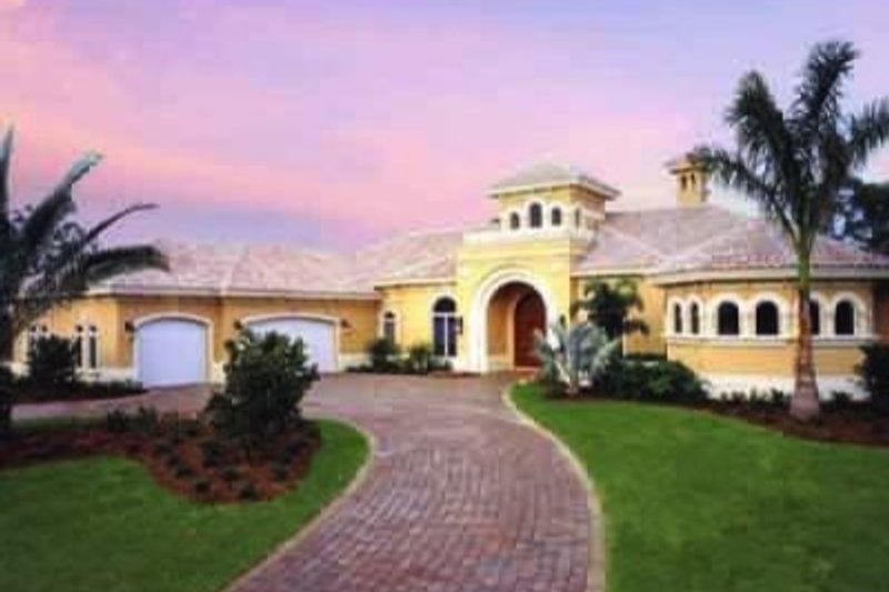 Mediterranean Style House Plan - 3 Beds 3.5 Baths 4043 Sq/Ft Plan #115-109 Exterior - Front Elevation