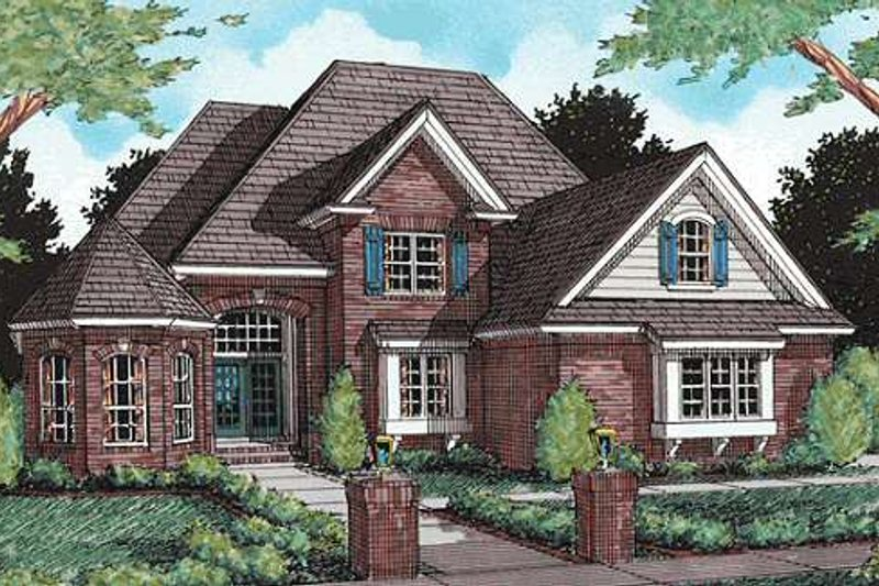European Exterior - Front Elevation Plan #20-300