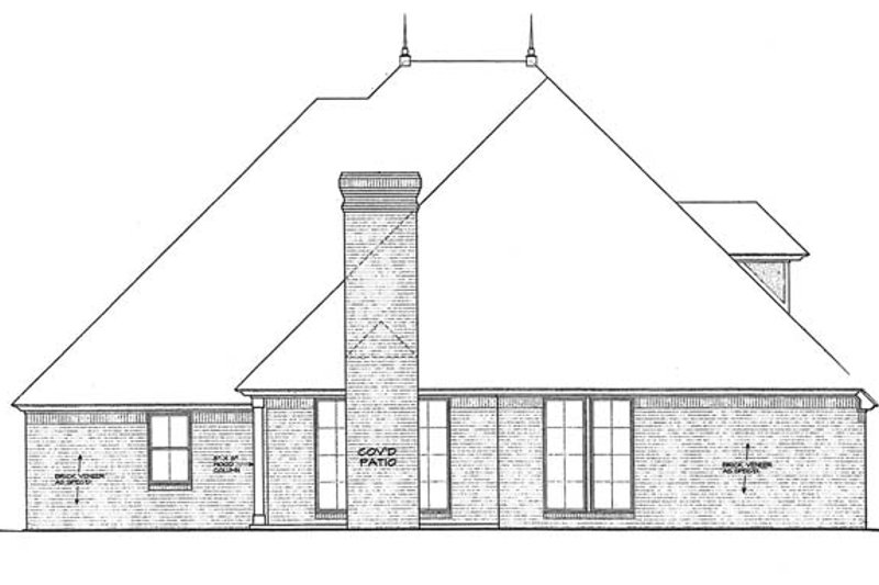 Country Exterior - Rear Elevation Plan #310-1270 - Houseplans.com