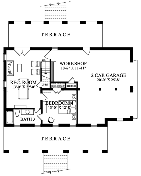 Colonial Floor Plan - Lower Floor Plan #137-373