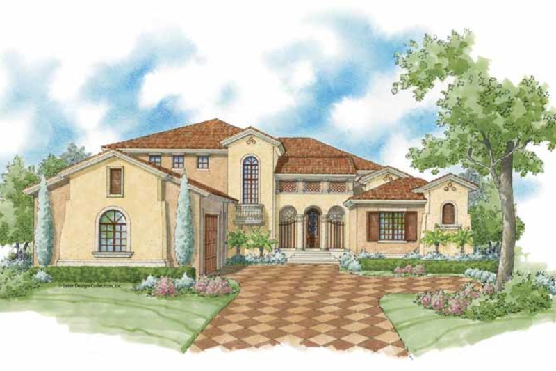 Mediterranean Exterior - Front Elevation Plan #930-427