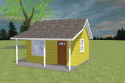 Bungalow Style House Plan - 1 Beds 1 Baths 200 Sq/Ft Plan #423-65 Exterior - Front Elevation
