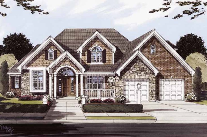European Exterior - Front Elevation Plan #46-773