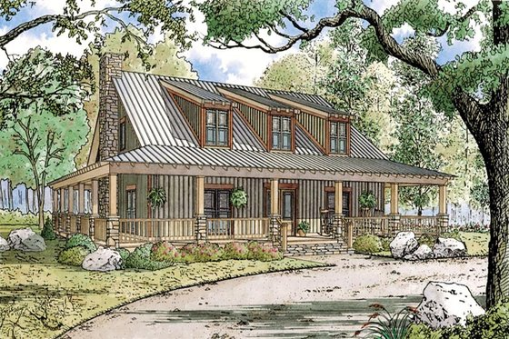 Country Exterior - Front Elevation Plan #923-30