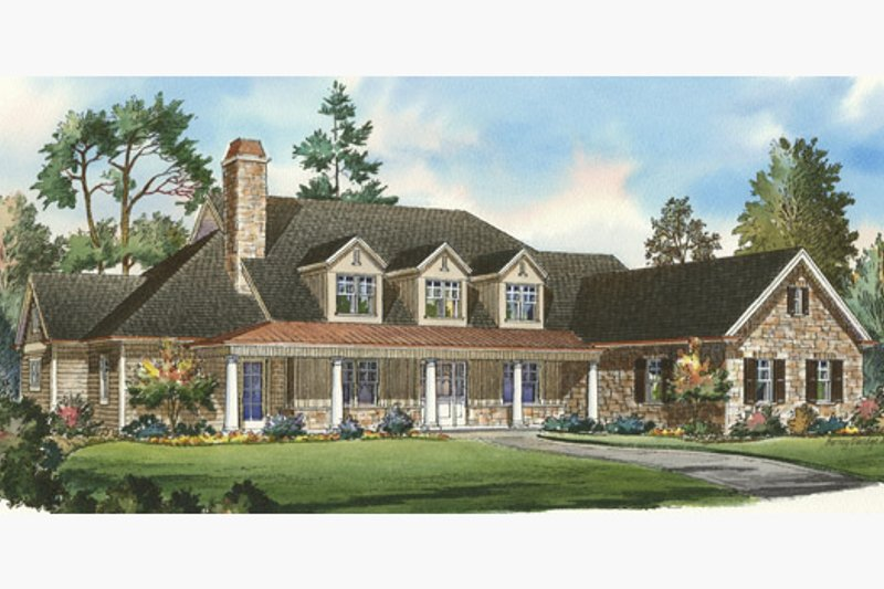 Traditional Style House Plan - 5 Beds 4.5 Baths 5150 Sq/Ft Plan #490-16 Exterior - Front Elevation