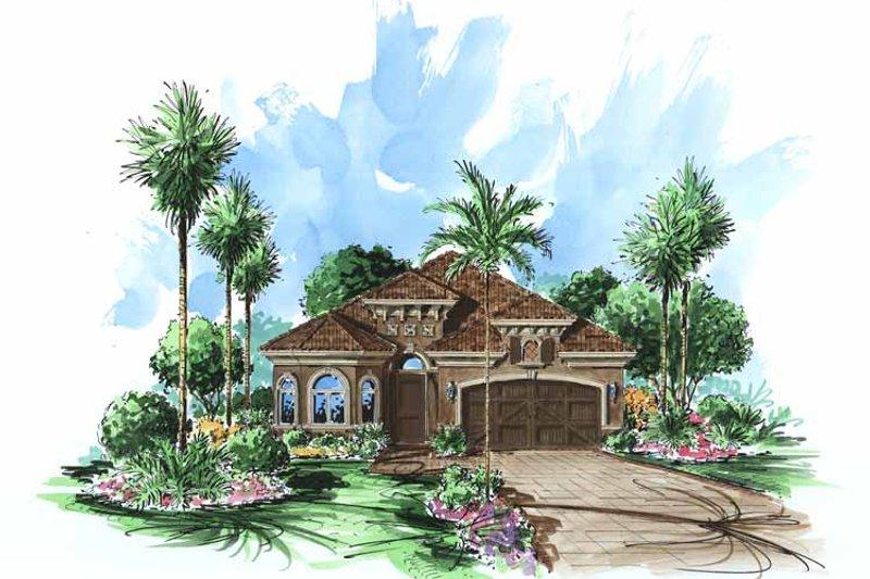 Dream House Plan - Mediterranean Exterior - Front Elevation Plan #1017-83