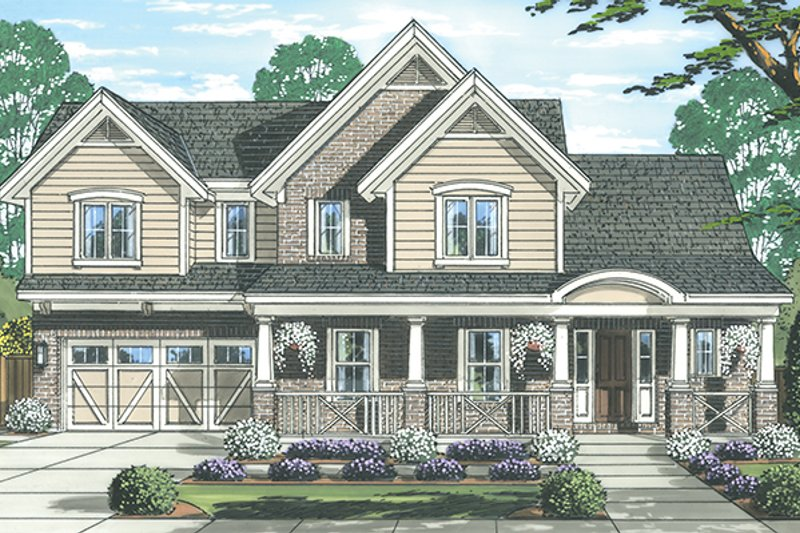 Country Exterior - Front Elevation Plan #46-845