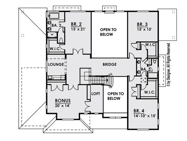 Craftsman Floor Plan - Upper Floor Plan Plan #1066-26