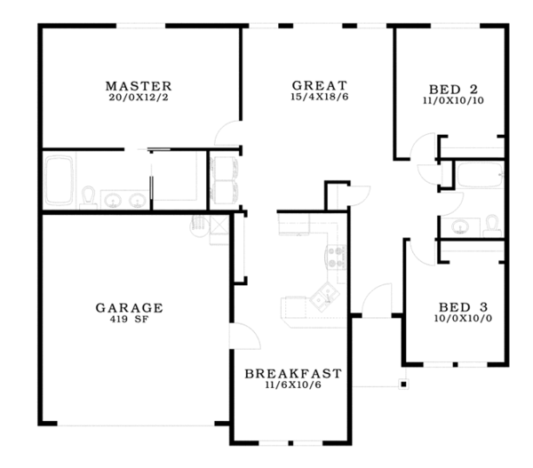 Country Floor Plan - Main Floor Plan Plan #943-39