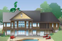Cottage Exterior - Rear Elevation Plan #929-992
