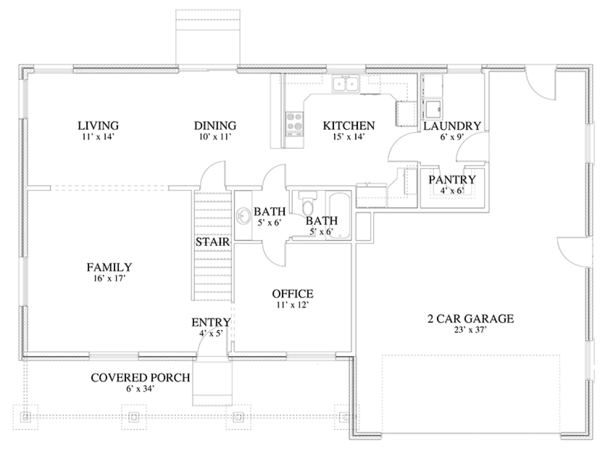 Traditional Floor Plan - Main Floor Plan Plan #1060-17