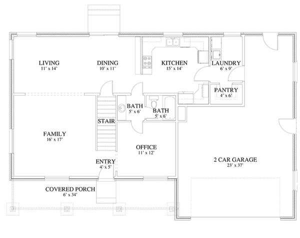 Traditional Floor Plan - Main Floor Plan Plan #1060-17