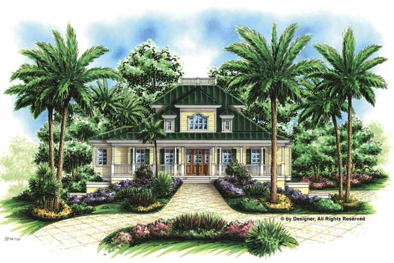 Southern Exterior - Front Elevation Plan #1017-57