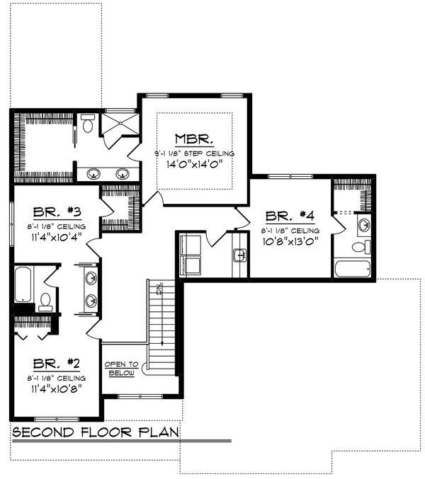 Craftsman Floor Plan - Upper Floor Plan Plan #70-1250