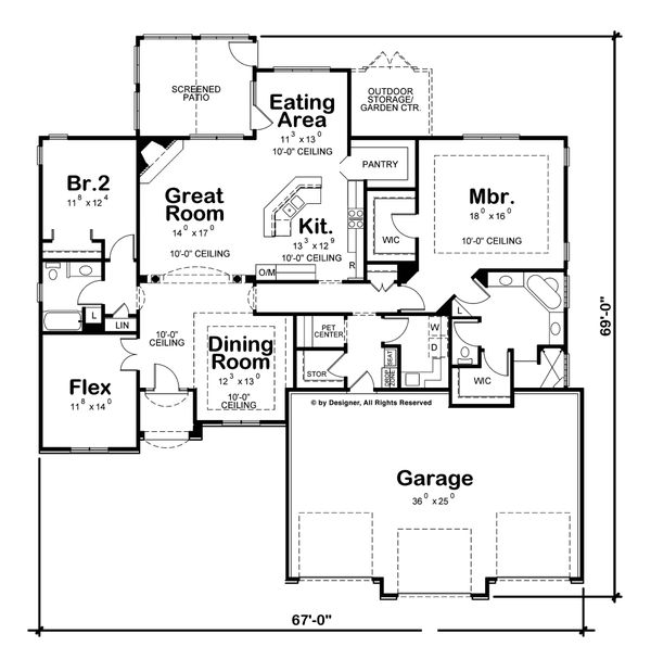 Mediterranean Floor Plan - Main Floor Plan Plan #20-2256