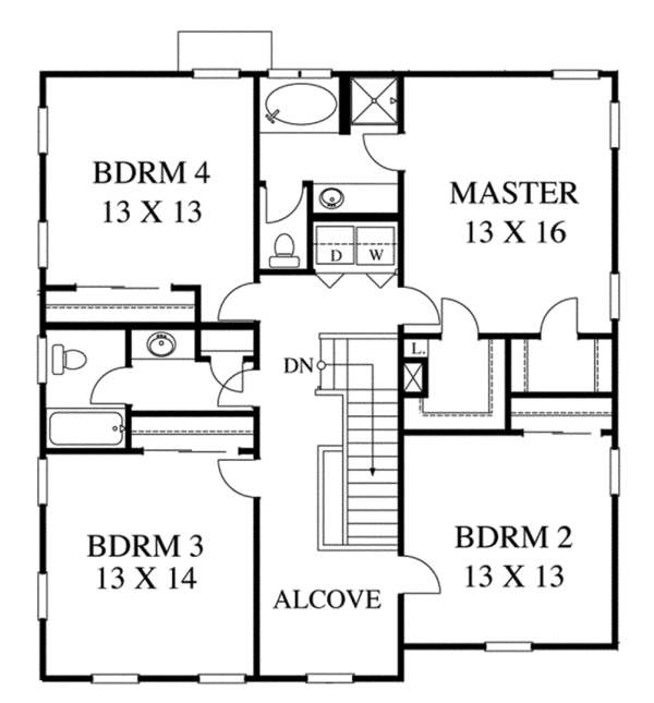 Traditional Floor Plan - Upper Floor Plan Plan #1053-53
