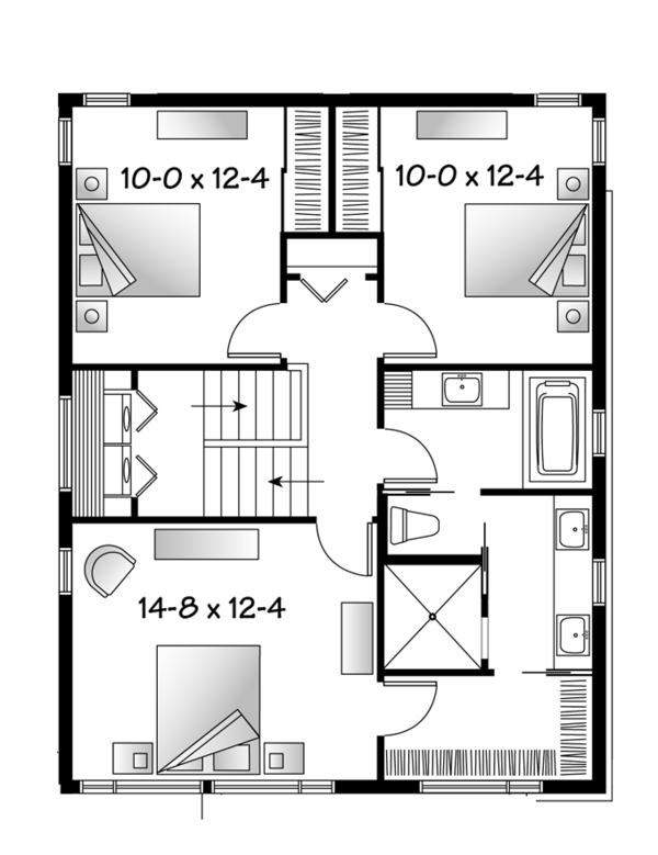 Contemporary Floor Plan - Upper Floor Plan Plan #23-2481