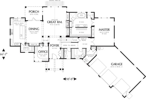 Main Floor Plan - 2900 square foot Craftsman Home