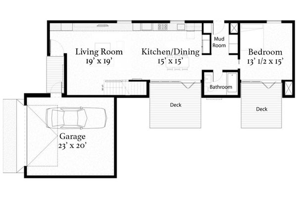 Modern Floor Plan - Main Floor Plan Plan #497-22