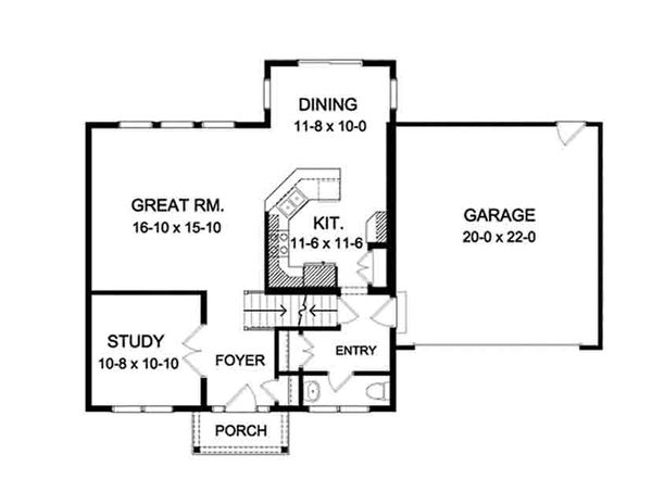 House Plan Design - Colonial Floor Plan - Main Floor Plan #1010-116