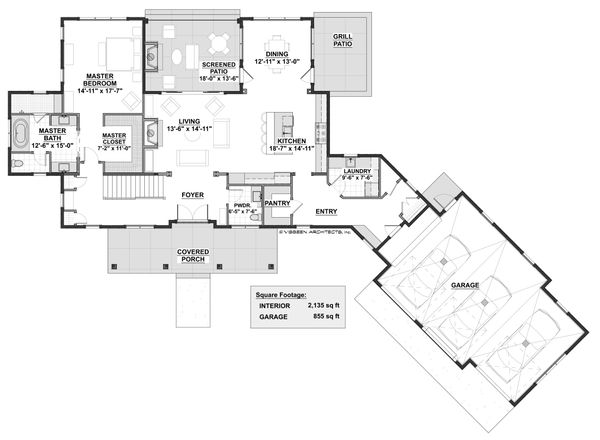 Farmhouse Floor Plan - Main Floor Plan Plan #928-309