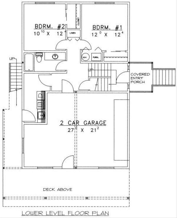 Bungalow Floor Plan - Lower Floor Plan Plan #117-571