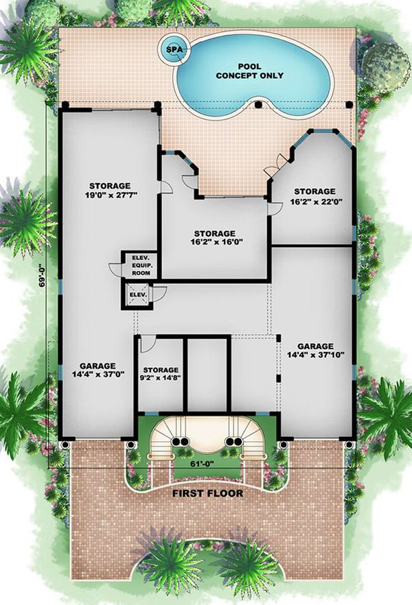 Beach Floor Plan - Main Floor Plan Plan #27-469