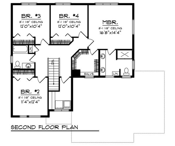 Modern Floor Plan - Upper Floor Plan Plan #70-1466