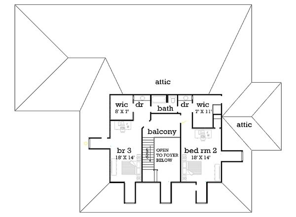 Upper level floor plan - 4000 square foot European home