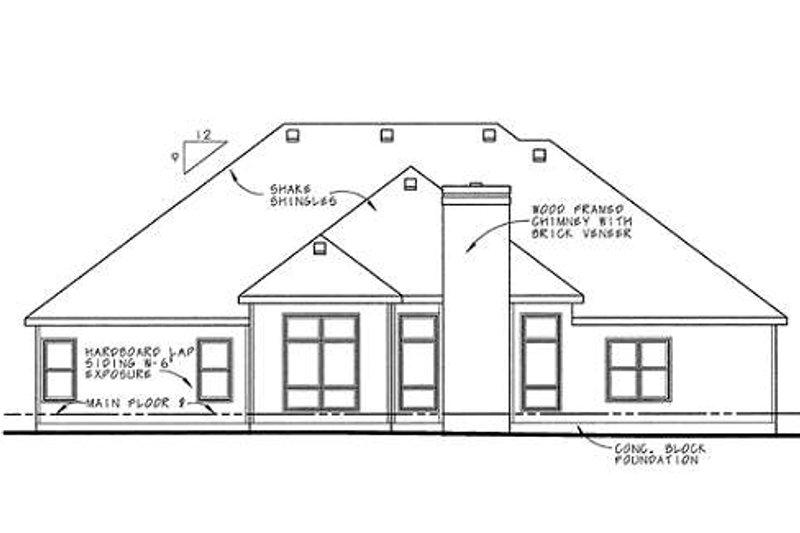 Traditional Exterior - Rear Elevation Plan #20-1005 - Houseplans.com
