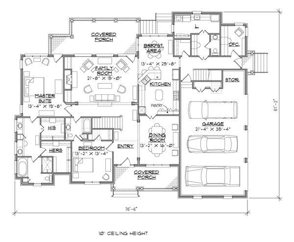 Traditional Floor Plan - Main Floor Plan Plan #1054-23