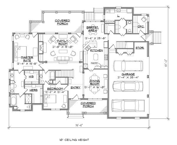 House Plan Design - Traditional Floor Plan - Main Floor Plan #1054-23
