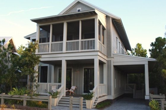 Beach style house plan, front elevation photo