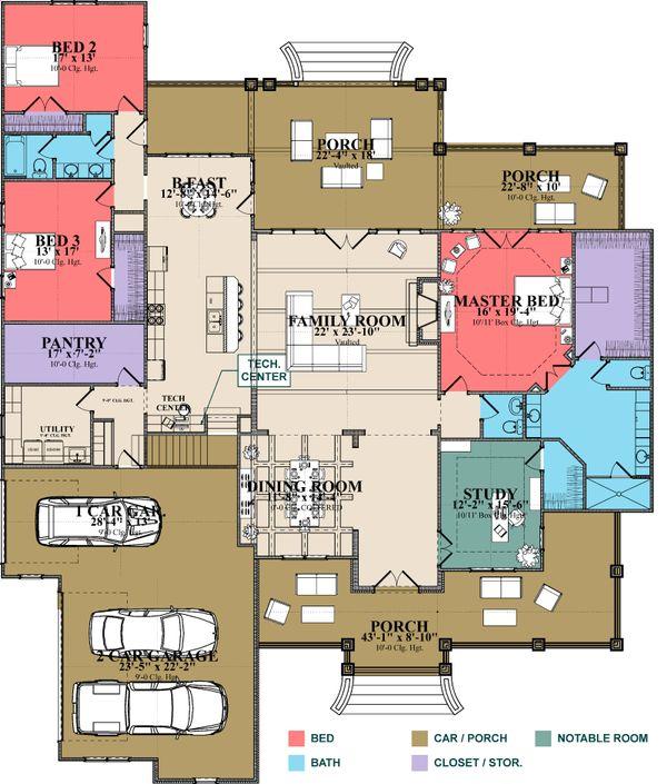 Craftsman Floor Plan - Main Floor Plan Plan #63-423