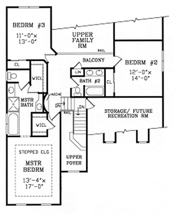 Country Floor Plan - Upper Floor Plan Plan #314-291