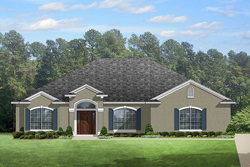 European Style House Plan - 4 Beds 2 Baths 2353 Sq/Ft Plan #1058-133 Exterior - Front Elevation