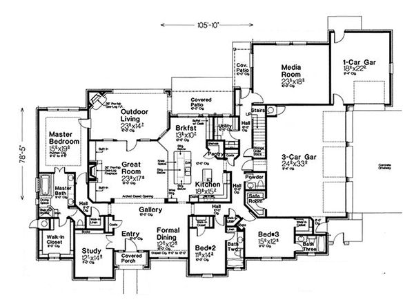 European Floor Plan - Main Floor Plan Plan #310-1310