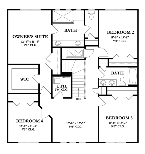 Mediterranean Floor Plan - Upper Floor Plan Plan #1058-63
