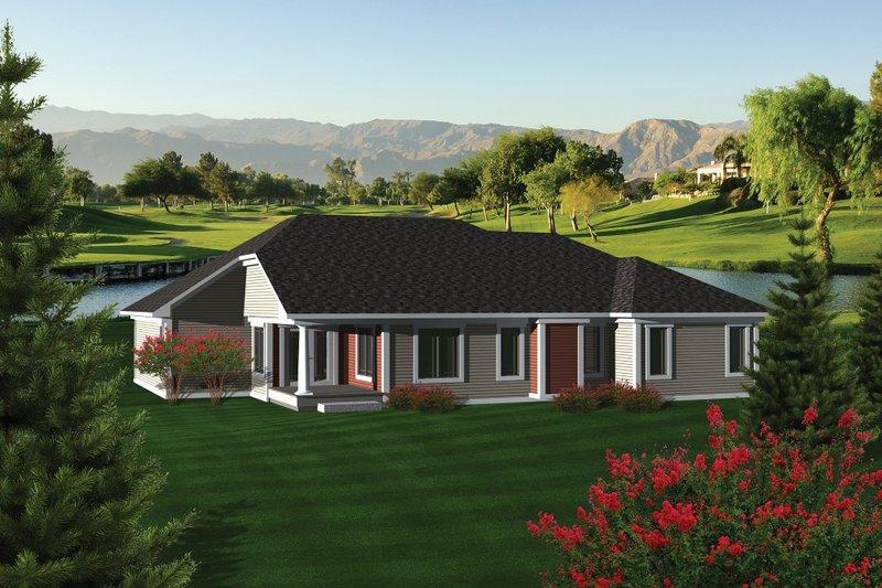 Traditional Exterior - Rear Elevation Plan #70-1082 - Houseplans.com