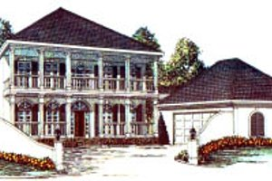 Southern Exterior - Front Elevation Plan #37-191