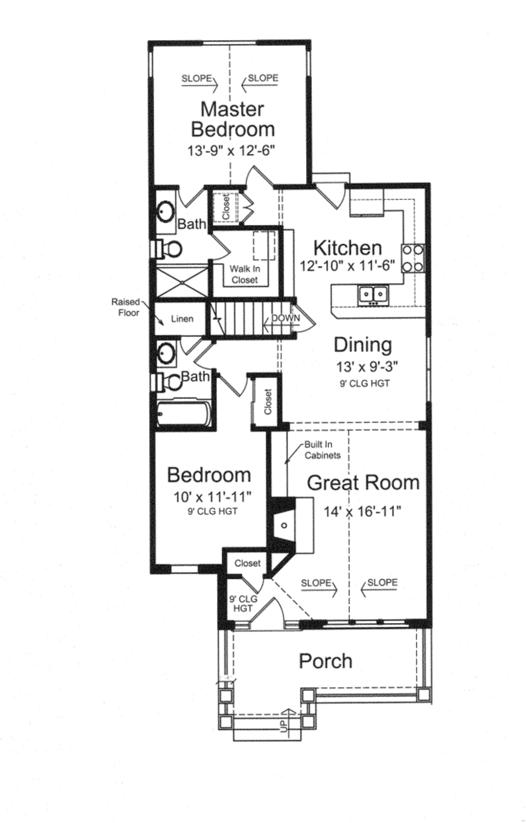 Craftsman Style House Plan - 2 Beds 2 Baths 1136 Sq/Ft Plan #46-842 on