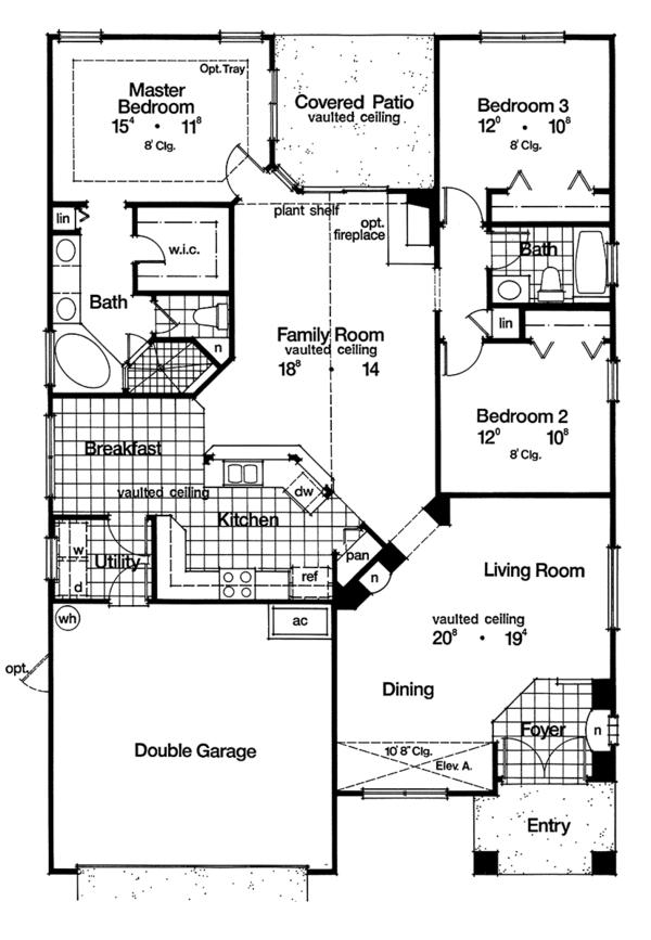 Mediterranean Floor Plan - Main Floor Plan Plan #417-854