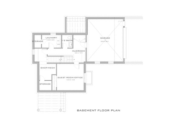 Modern Floor Plan - Lower Floor Plan Plan #909-10