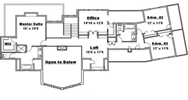 Traditional Floor Plan - Upper Floor Plan Plan #117-830