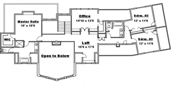 Traditional Floor Plan - Upper Floor Plan Plan #117-830