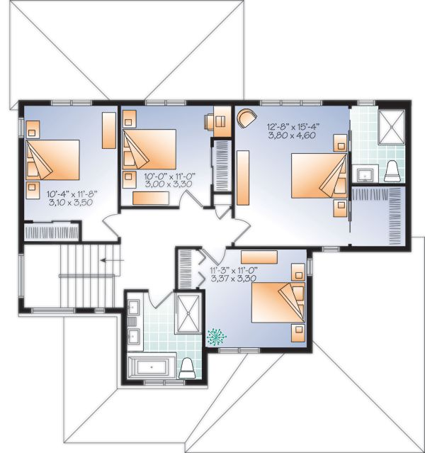 Craftsman Floor Plan - Upper Floor Plan Plan #23-2704