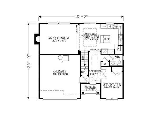 Craftsman Floor Plan - Main Floor Plan Plan #53-470