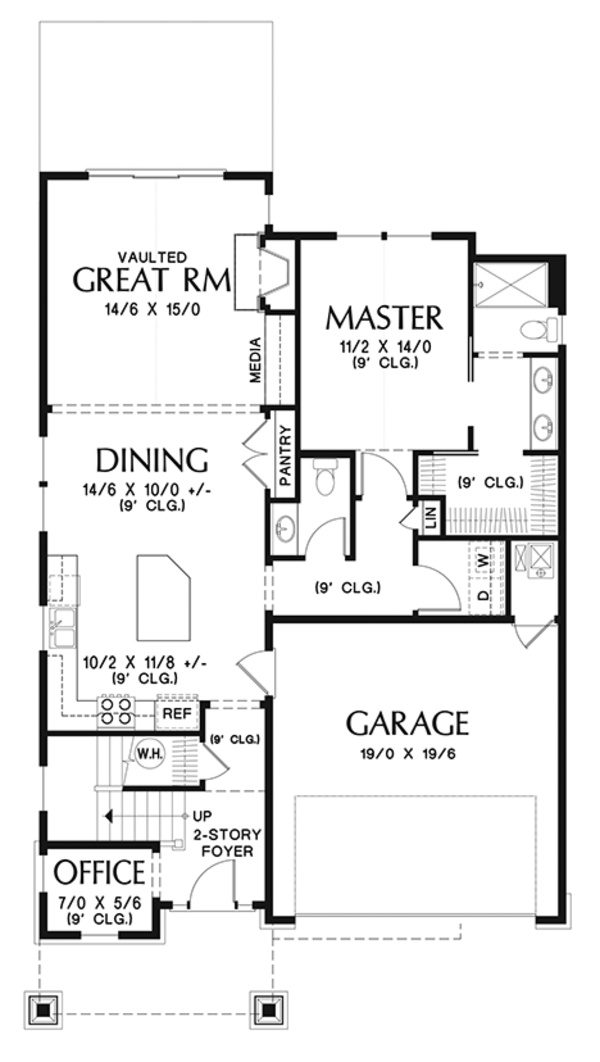 Craftsman Floor Plan - Main Floor Plan Plan #48-924