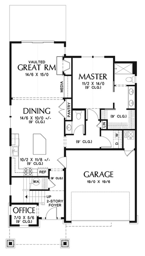 Architectural House Design - Craftsman Floor Plan - Main Floor Plan #48-924
