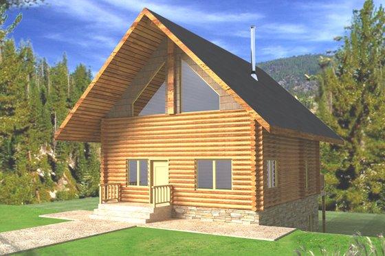 Architectural House Design - Log Exterior - Front Elevation Plan #117-821